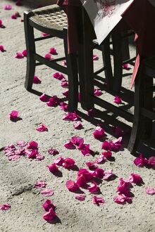 Cafe Table & Pink Flowers, Rethymno, Crete, Greece