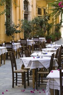 Cafe tables, Hania, Hania Province, Crete, Greece