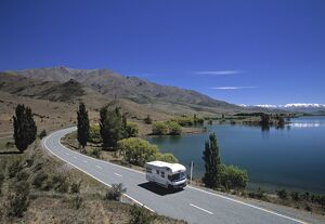 Camper van on road by Lake Wanaka