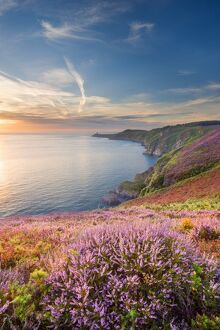 Cap Frehel, Brittany, France. Cliff at sunrise