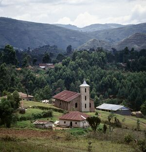 The Catholic church at Nyaruhanga is of an unmistakable Italian style
