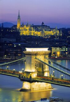 Chain Bridge & Danube River, Budapest, Hungary