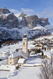 Church in Colfosco, Badia and Sella Massif range of Mountains, Dolomites