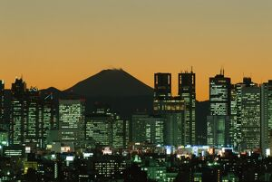 City Skyline & Mount Fuji / Night View, Tokyo, Honshu, Japan