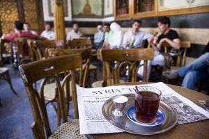 Drinking tea in the famous Al Nawfara cafe in Old Damascus