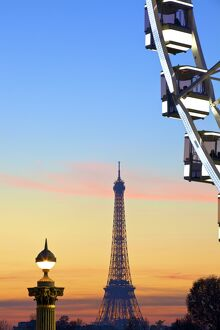 Eiffel Tower From Place De La Concorde With Big Wheel In Foreground, Paris, France
