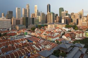 Elevated view over Chinatown, the new Buddha Tooth Relic temple and modern city skyline