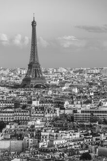 Elevated view over the city with the Eiffel Tower in the distance, Paris, France, Europe