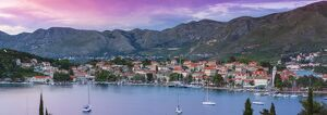 elevated view picturesque harbor town cavtat illuminated