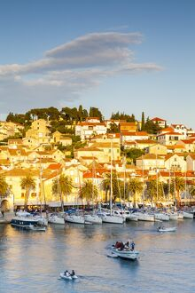 elevated view picturesque harbour town hvar illuminated