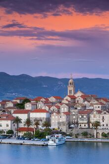 elevated view picturesque korcula town illuminated