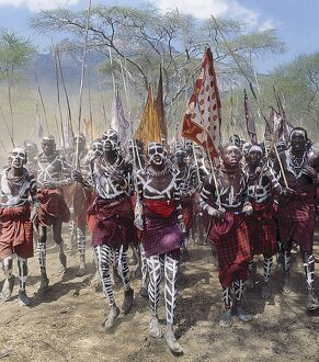 During an eunoto ceremony when Maasai warriors become junior elders