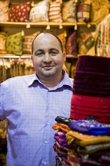 A fabric trader in the Grand Bazaar, Istanbul.