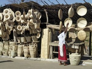 A fine array of handicrafts at stalls beside the Luangwa