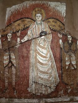 A fine early Coptic wall mural depicting an angel