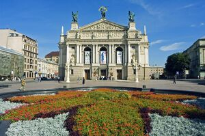 Floral Feature outside the Lviv Theater of Opera and Ballet