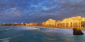 France, Biarritz, Pyrenees-Atlantique, Panorama of Grand Plage at sunset