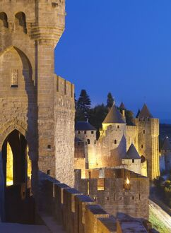 France, Languedoc, Carcassonne, walled city at night