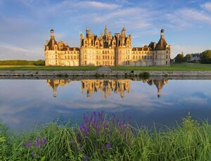 France, Loire valley, Chateau de Chambord, detail of towers