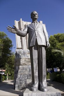 A giant statue of Hafez al-Assad in downtown Damascus