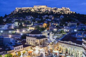 Greece, Athens of Monastiraki Square and Acropolis