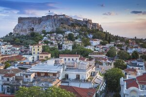 Greece, Attica, Athens, View of Plaka and The Acropolis