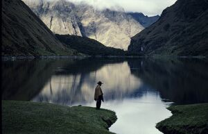 A high lake in the Vilcabamba range; at the waters