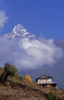 Hillside house with the fishtail peak of Machhapuchhare 6