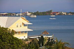 Honduras, Bay Islands, Utila, View of bay