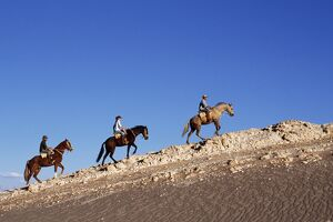 Horse riding along a ridge amongst the wind-eroded