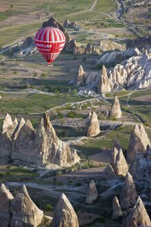 Hot Air Balloon flight over Volcanic tufa rock formations