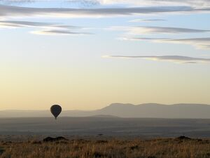 A hot air balloon floating over the Masai Mara Game Reserve at daybreak.
