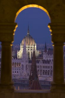 Hungarian Parliament seen from Fishermans Bastion