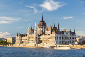Hungary, Central Hungary, Budapest. The Hungarian Parliament Building on the Danube River