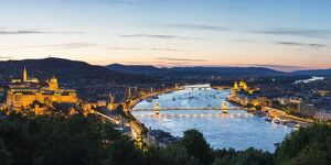 Hungary, Central Hungary, Budapest. Evening view over Budapest and the Danube