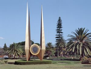 An impressive monument erected on a large round about in Lusaka