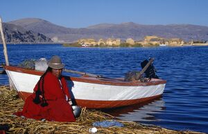 An Indian woman from the Uros or floating reed islands