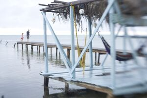 Jetty and hammocks, Caye Caulker, Belize