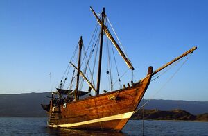 The khotiya-type dhow Sanjeeda at anchor off Mirbat, Oman