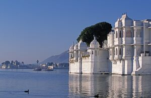 The Lake Palace Hotel appears to float on Lake Pichola