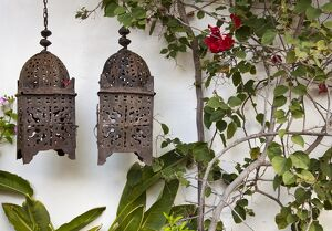 Lanterns on wall, Betancuria, Fuerteventura, Canary Islands, Spain