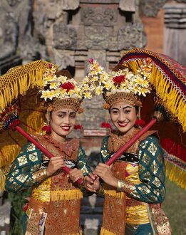 Legong Dancers / Girls Dressed in Traditional Dancing Costume