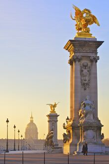 Looking Across The Pont Alexandre III To The Dome Church, Paris, France, Western Europe