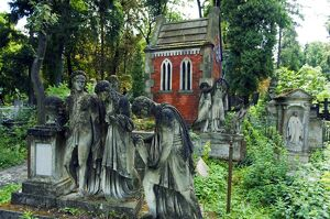 Lychakiv Cemetery Graveyard Decorated with Statues