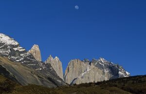 Moon over the Towers of Paine from Camping Torres