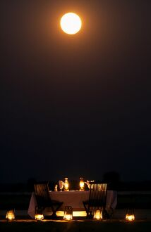 Moonlit dinner on an island in the middle of the Zambezi River