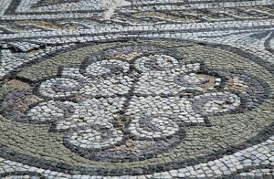 A mosaic on the floor of the Seaward or Ocean Baths