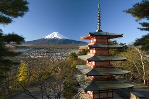 Mount Fuji and temple, Fuji-Hakone-Izu National Park, Japan
