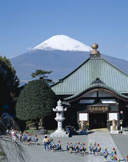 Mount Fuji / Temple & School Children, Honshu, Japan