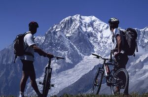 Mountain bikers stop on their circuit of Mont Blanc